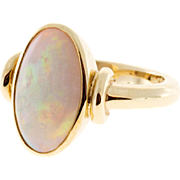 Opal 18k Yellow Gold Full Bezel Ring