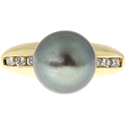 Black South Sea Pearl Diamond 18 Karat Yellow Gold Cocktail Ring