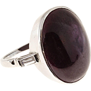 Purple Red Ruby Diamond Platinum Cocktail Ring