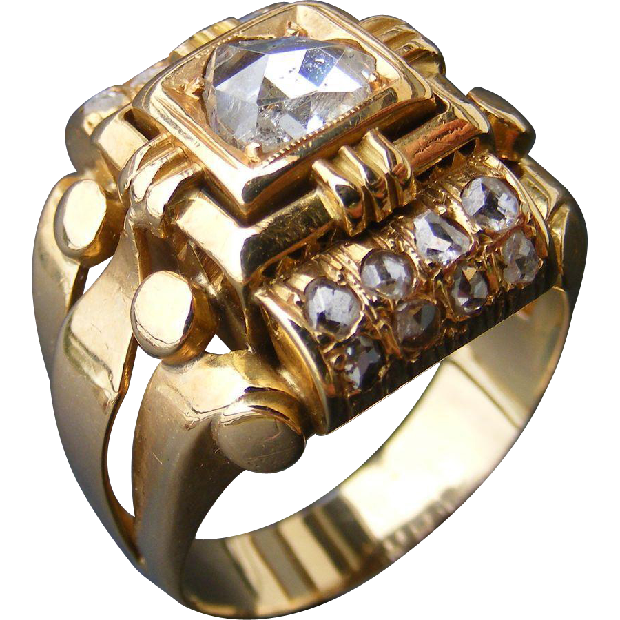 Art Deco Era  Men's 18 k Gold and Rose Cut Diamond Ring
