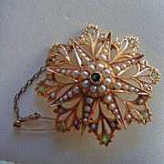 Demantoid Garnet & Seed Pearl Pendant/Pectoral Brooch in 15 K Rose Gold