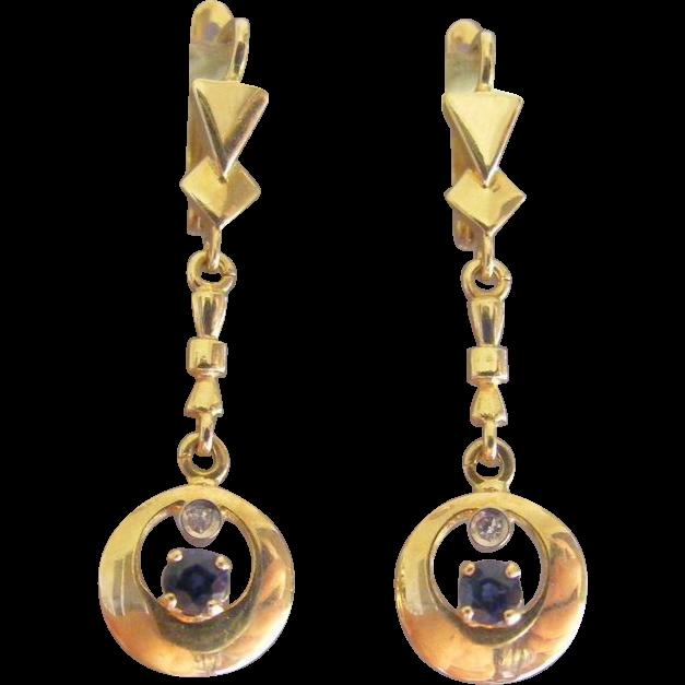 Sapphire and Diamond 18 k Mid Century Retro Era Drop Earrings
