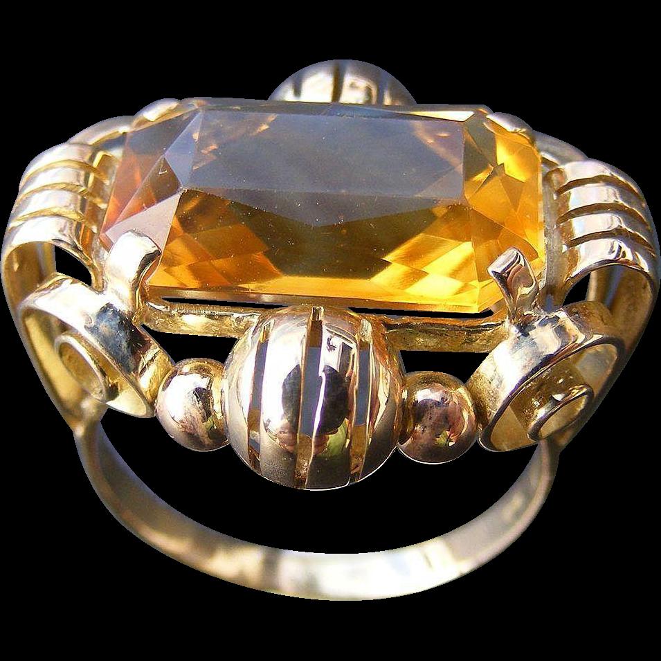 Retro Mid Century 14 k Rose Gold Natural Citrine Ring