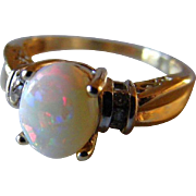 Solid Australian Natural Opal and Diamond Mid Century Retro Ring