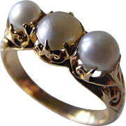 Natural Pearl Trilogy 18 k Yellow Gold Antique Ring