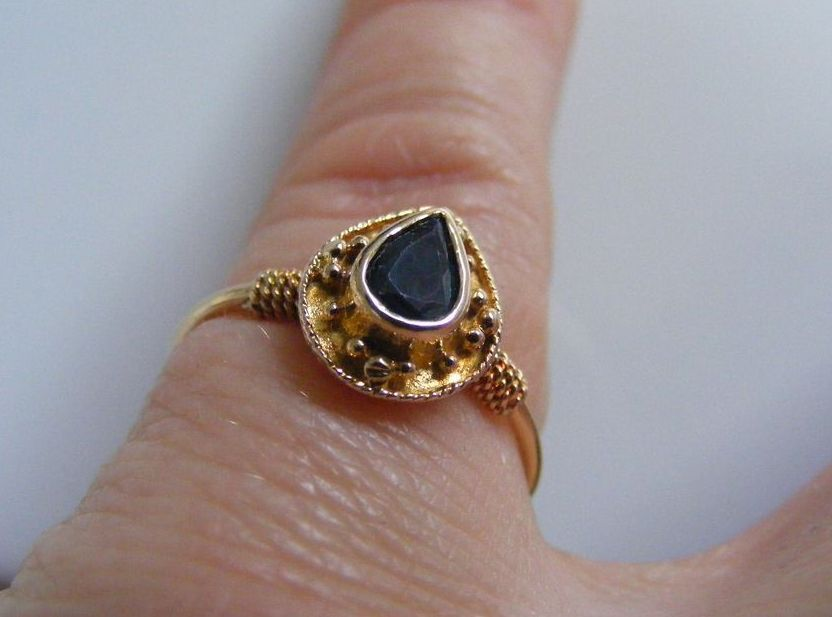 Etruscan Revival Mid Victorian Natural Sapphire Ring