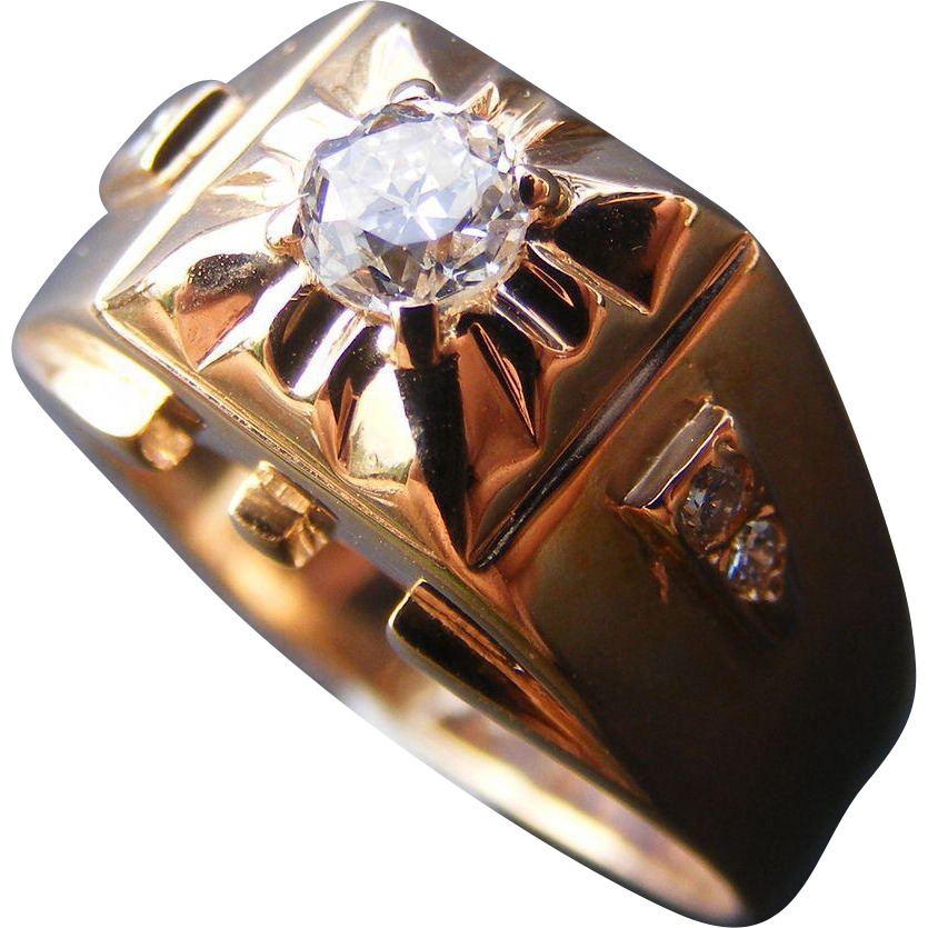 Art Deco Era Cusp Set Old Cut Diamond 18K Rose Gold Ring