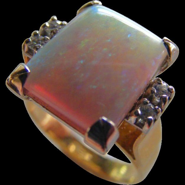 Square Shaped Cabochon Cut Australian Natural Opal and Diamond Ring.