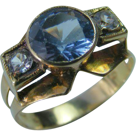 Mid Century Retro Blue and Clear Zircon Ring