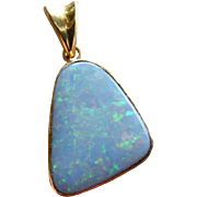 South Australian Natural Opal 18 k Yellow Gold Pendant