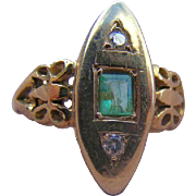 Emerald and Diamond Victorian Era Plaque Ring