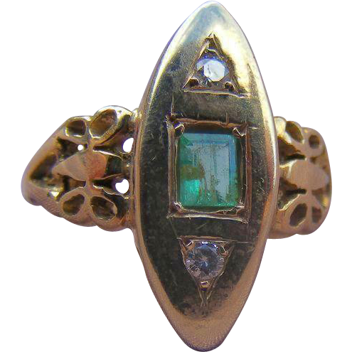 Emerald and Diamond Victorian Era Plaque Ring