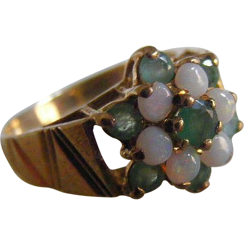 Mid Century Opal and Natural Emerald Floral Cluster Ring with British Hallmarks
