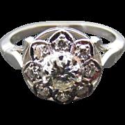 18 k White Gold Platinum and Diamond Edwardian Cluster Ring
