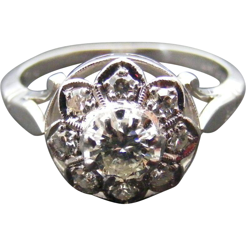18 k White Gold Platinum and Diamond Edwardian Cluster Ring