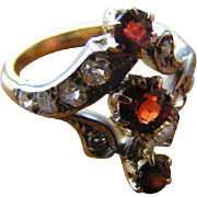 Victorian Red Garnet and European Old Mine Cut Diamond Antique Ring