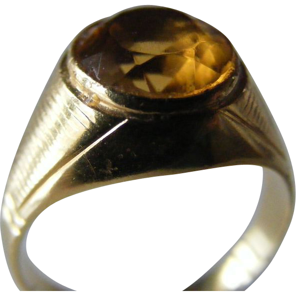 Early 20th Century Natural Citrine Solitaire Ring
