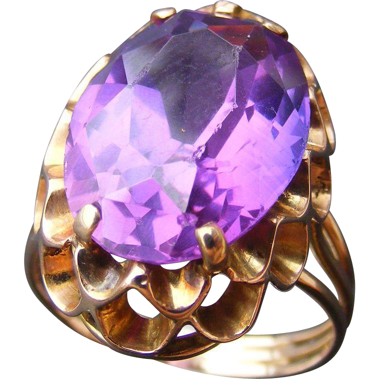 Large Created Purple Sapphire 14 k Rose Gold Ring