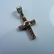 14 k Rose Gold and Black Tourmaline Cross Pendant