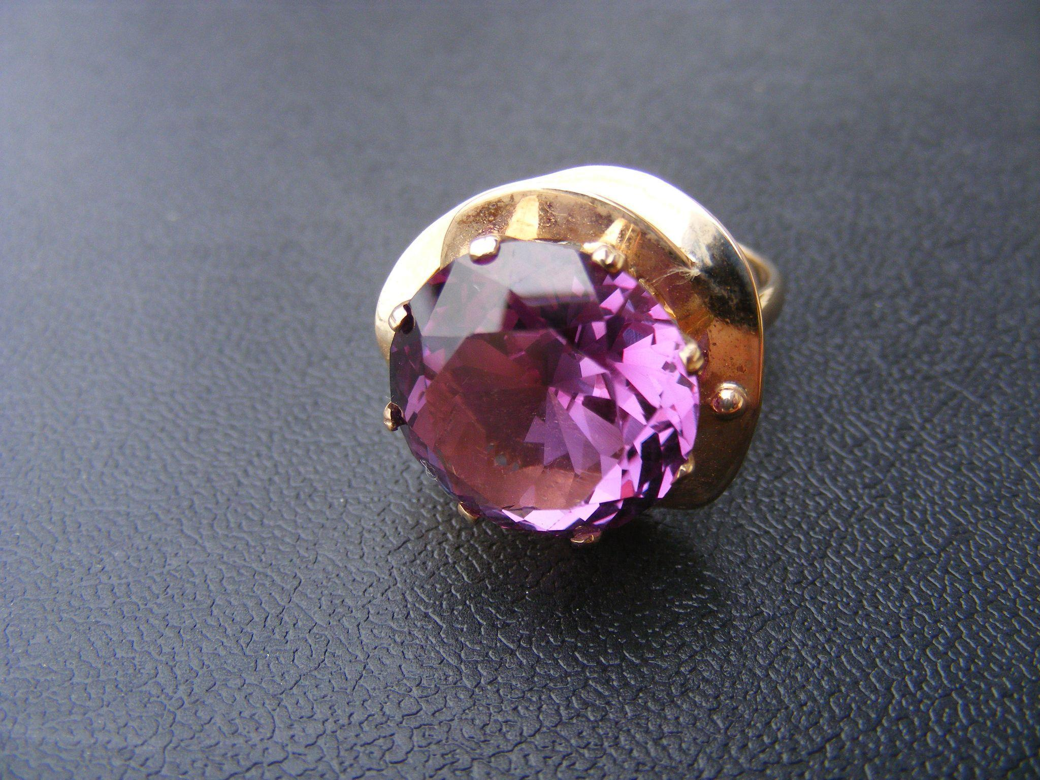Large Round lab Alexandrite  in Floral Ring Setting