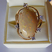 Large Australian Cabochon Natural Opal and Diamond Mid Century Vintage Ring