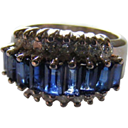 Baguette Cut Blue Sapphire and Diamond Mid Century Dress Ring