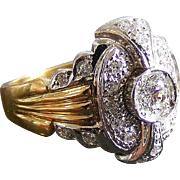 Art Deco Era Platinum and 18 k Yellow Gold Diamond Cluster Ring