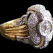 Art Deco Era Platinum and 18 k Yellow Gold Diamond Cluster Ring