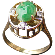 Arts and Crafts Natural Jadeite and Diamond Ring