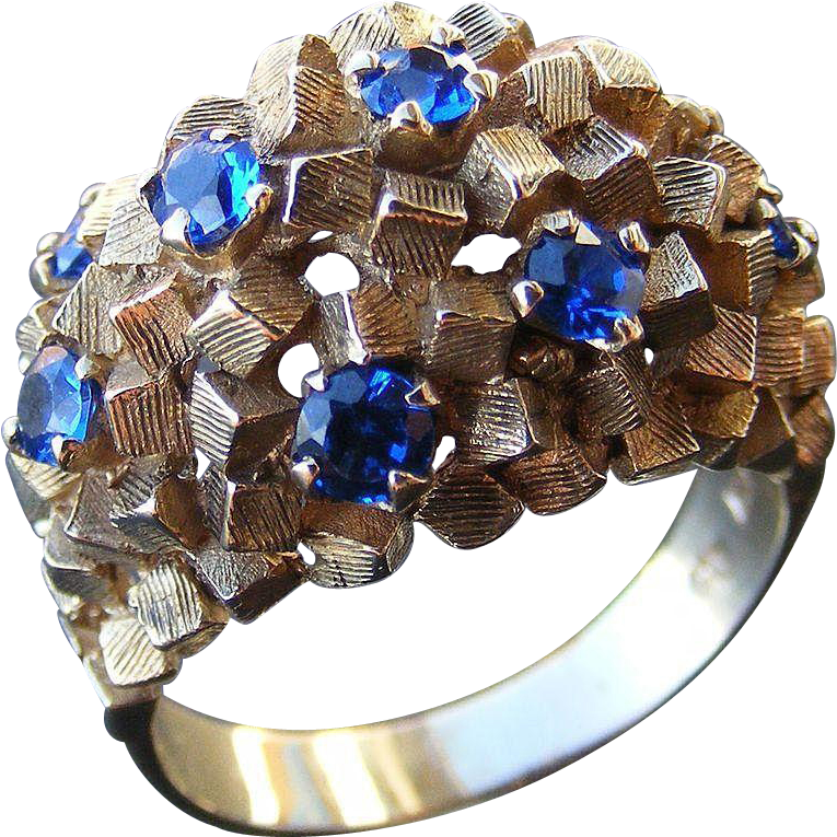 Vintage Mid Century Modernist Dress Ring with Blue Spinels