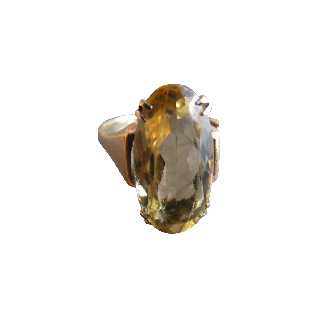 Vintage Pale Citrine Ring with 1964 British Hallmarks