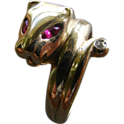 Panther Head Snake Ring with a Diamond Tail and Lab Ruby Eyes