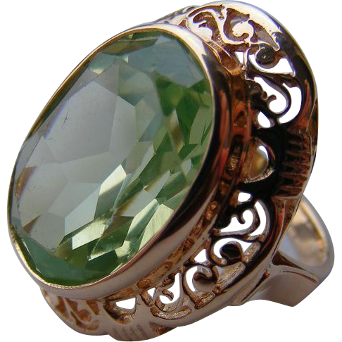 Edwardian 14 k Rose Gold Filigree and 13 carat Apple Green Spinel Ring
