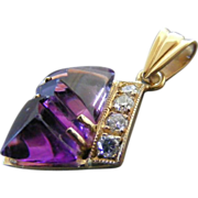 Art Deco Carved Amethyst and Four Diamond Pendant