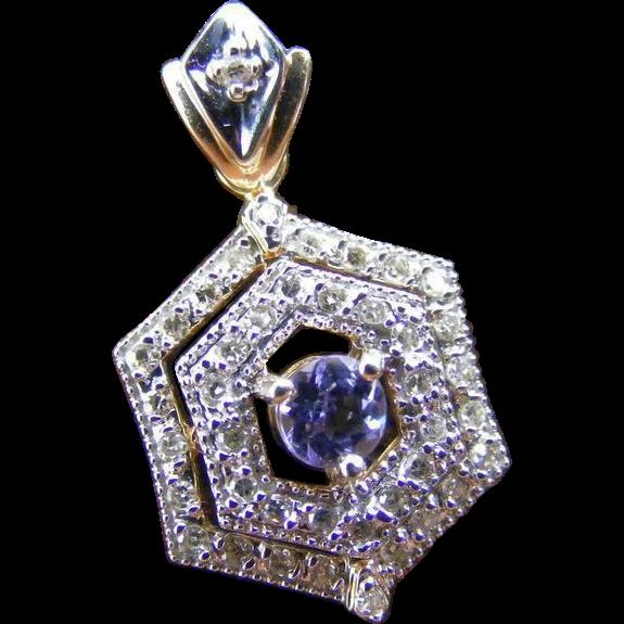 Edwardian Diamond and Violet/ Pink Beryl Pendant