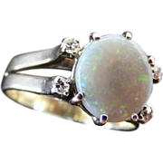Vintage Mid Century Solid Australian Semi Black Natural Opal and Diamond Ring