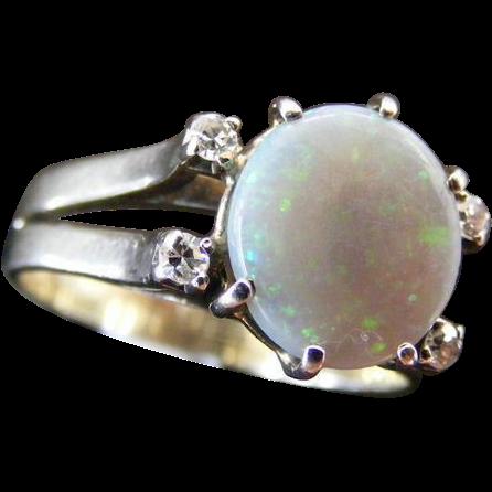 Vintage Mid Century Solid Australian Semi Black Natural Opal and Diamond Ring