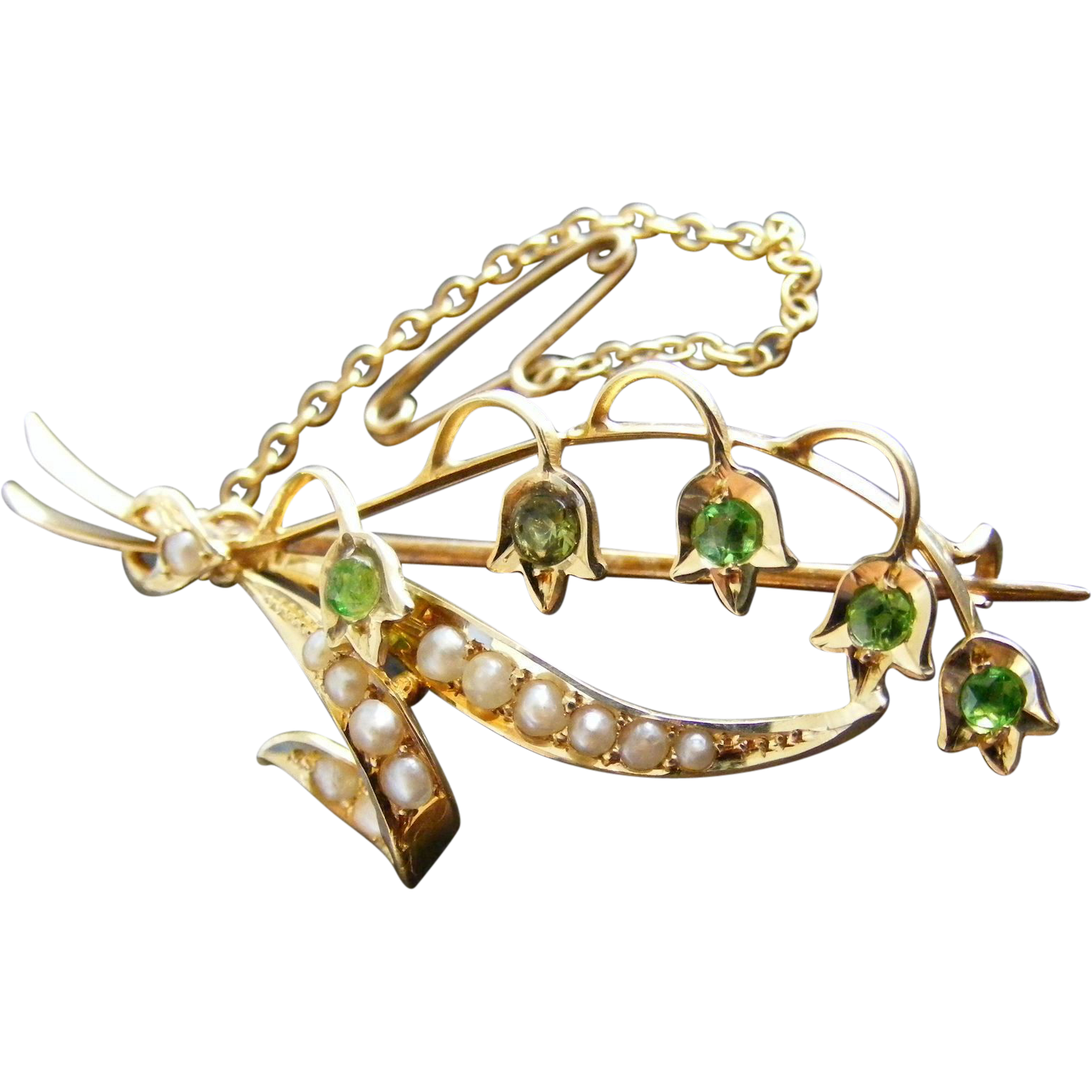 Antique Willis and Sons Lily Of The Valley Demantoid Garnet and Seed Pearl Brooch