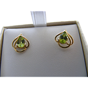 Vintage Teardrop Peridot Earrings with British Hallmarks
