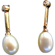 Art Deco Diamond and Salt Water Pearl Earrings with Knife Edge Extension