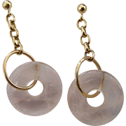 Art Deco Era Natural Rose Quartz Ladies Earrings