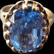 Edwardian Blue Topaz Ring with British Hallmarks Edinburgh 1904