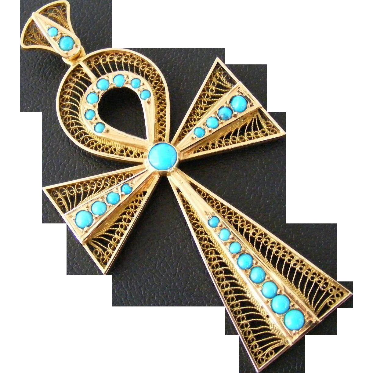 large art deco egyptian revival turquoise ankh cross pendant from charlottelord on ruby lane. Black Bedroom Furniture Sets. Home Design Ideas