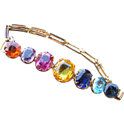 Vintage Tourmali Style Multi Colored Stone Set Bracelet