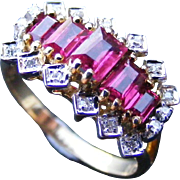 Vintage Natural Ruby and Diamond Bandeau Ring