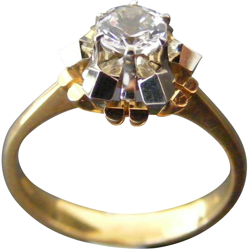 Mid Century Modern Clear Zircon Ring, 18 k white and Yellow Gold