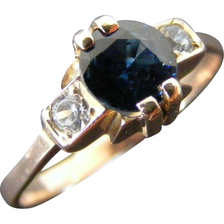 Vintage Mid Century Natural Blue and White Sapphire, 14 k Rose Gold, Size 10.5