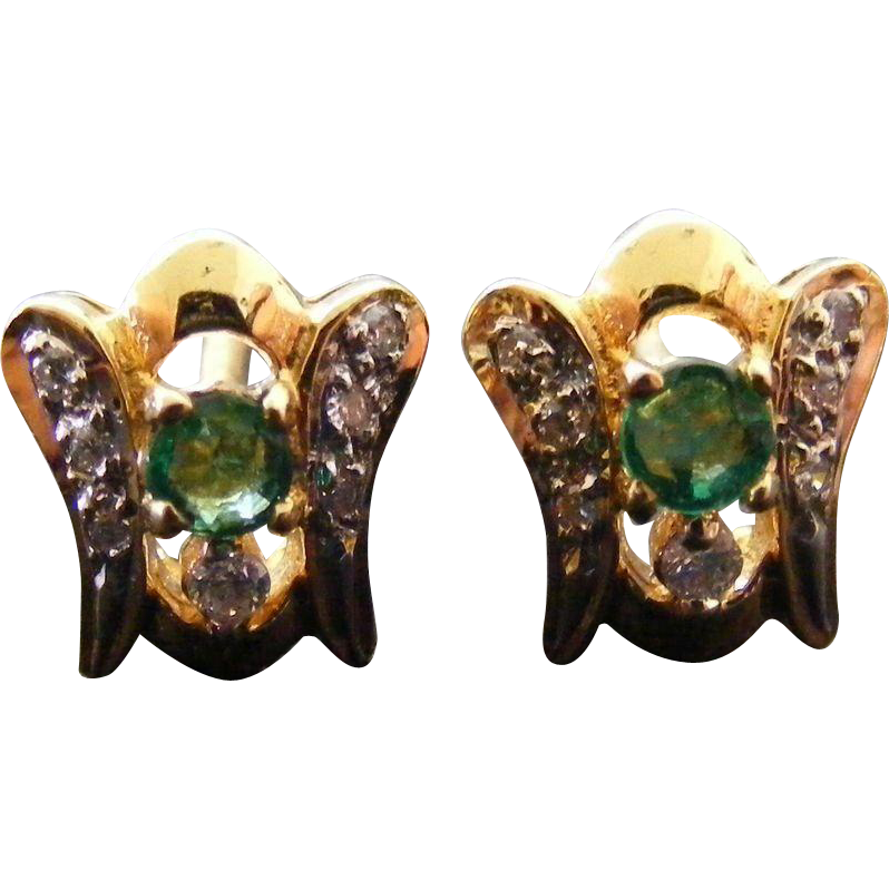 Mid Century Natural Emerald and Diamond Earrings, 18 k Gold