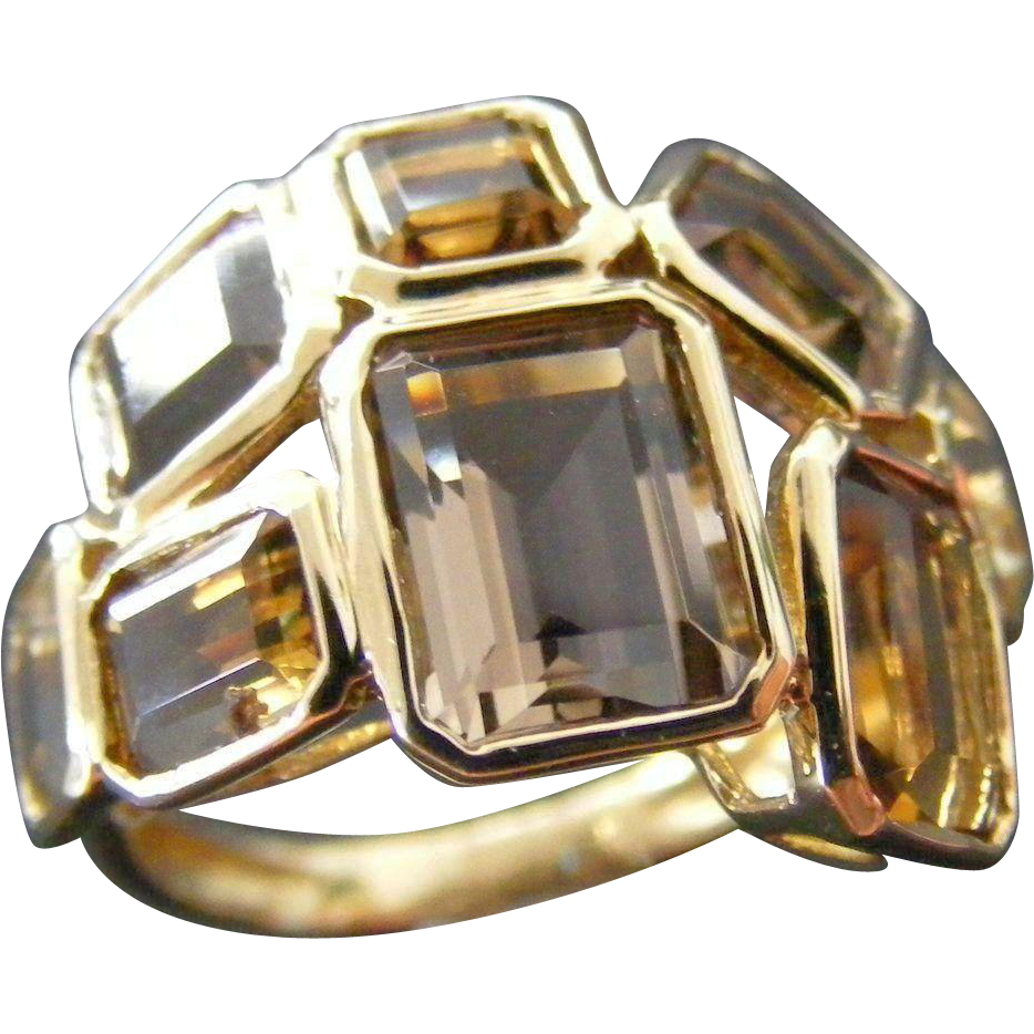 Mid Century Modern Rock Crystal, Citrine and Smoky Quartz Ring