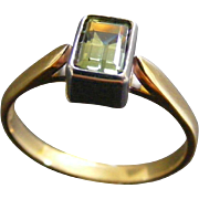 Ladies Vintage Natural Green Sapphire Ring, 18 k White and Yellow Gold